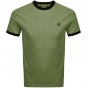 Fred Perry Ringer T Shirt Green