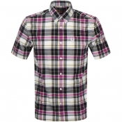 Fred Perry Short Sleeved Madras Check Shirt Purple