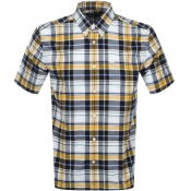 Fred Perry Short Sleeved Madras Check Shirt Yellow