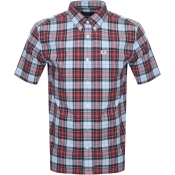 Product Image for Fred Perry Short Sleeved Tartan Check Shirt Blue