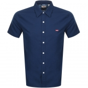 Levis Short Sleeved Battery Shirt Navy