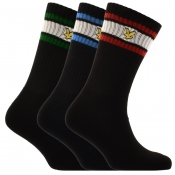 Lyle And Scott Grant Three Pack Socks Black