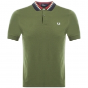 Fred Perry Striped Collar Polo T Shirt Green
