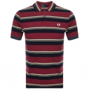 Fred Perry Striped Polo T Shirt Burgundy