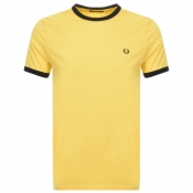 Fred Perry Ringer T Shirt Yellow