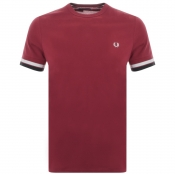Fred Perry Bold Tipped T Shirt Burgundy