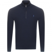 Product Image for Ralph Lauren Half Zip Waffle Knit Jumper Navy