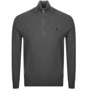 Product Image for Ralph Lauren Half Zip Waffle Knit Jumper Grey
