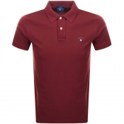 Gant Contrast Pique Rugger Polo T Shirt Red
