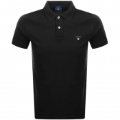 Gant Contrast Pique Rugger Polo T Shirt Black