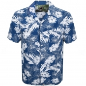 Pretty Green Short Sleeve Floral Shirt Blue