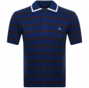 Product Image for Vivienne Westwood Striped Polo T Shirt Blue