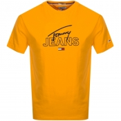 Product Image for Tommy Jeans Crew Neck Script T Shirt Orange