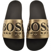 BOSS Athleisure Solar Sliders Gold