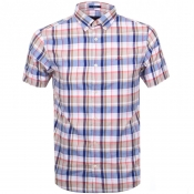 Gant Short Sleeved Oxford Plaid Shirt Brown