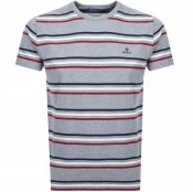 Gant Multi Striped T Shirt Grey
