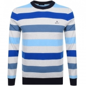 Product Image for Gant Multi Striped Knit Jumper Blue