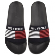 Tommy Hilfiger Woven Sliders Navy