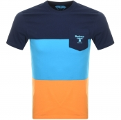 Barbour Beacon Colour Block Logo T Shirt Navy