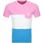 Barbour Beacon Colour Block Logo T Shirt Pink