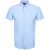 Product Image for Barbour Short Sleeved Oxford Logo Shirt Blue