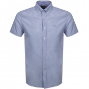 Barbour Short Sleeved Oxford Logo Shirt Navy