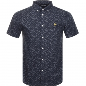 Lyle And Scott Short Sleeved Printed Shirt Navy