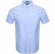 Gant Short Sleeved Oxford Shirt Blue