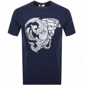 Product Image for Versace Collection Medusa Logo T Shirt Blue