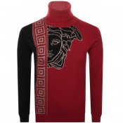 Versace Collection Roll Neck Knit Jumper Red