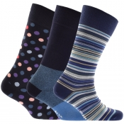 Paul Smith Gift Set 3 Pack Variety Socks Navy