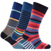 Paul Smith Gift Set 3 Pack Stripe Socks Blue