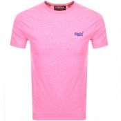 Superdry Orange Label Logo T Shirt Pink