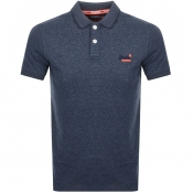 Superdry Jersey Polo T Shirt Navy