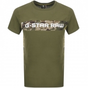 G Star Raw Crew Neck Camouflage T Shirt Sage