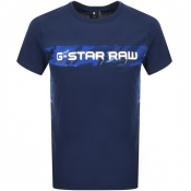 G Star Raw Crew Neck Camouflage T Shirt Blue