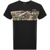 G Star Raw Crew Neck Camouflage T Shirt Black