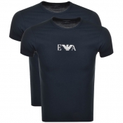 Emporio Armani 2 Pack Crew Neck T Shirts Navy