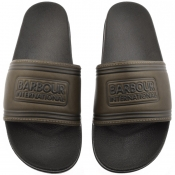 Barbour International Pool Sliders Green