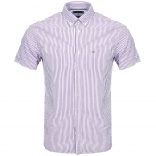 Tommy Hilfiger Short Sleeved Striped Shirt Purple