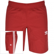 adidas Originals Three Stripe Swim Shorts Red