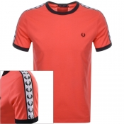 Fred Perry Taped Ringer T Shirt Red