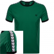 Fred Perry Taped Ringer T Shirt Green