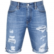 Levis 511 Distressed Slim Shorts Blue