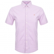Farah Vintage Short Sleeved Steen Slim Shirt Pink