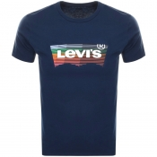 Levis Crew Neck Housemark Logo T Shirt Navy