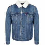 Product Image for Levis Denim Sherpa Trucker Jacket Blue