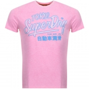 Superdry Vintage Ticket Type Logo T Shirt Pink