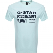 G Star Raw Logo T Shirt Blue