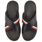 Tommy Hilfiger Criss Cross Sliders Navy